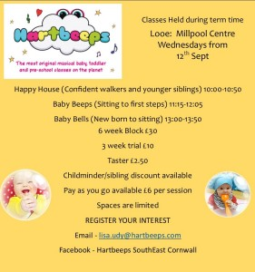 Starts 12th Sept at the Millpool Centre, looe