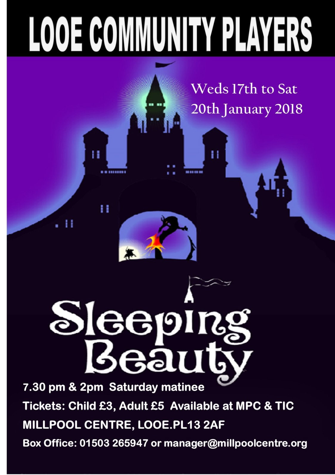 Millpool Centre, Looe Panto 2018 Sleeping Beauty